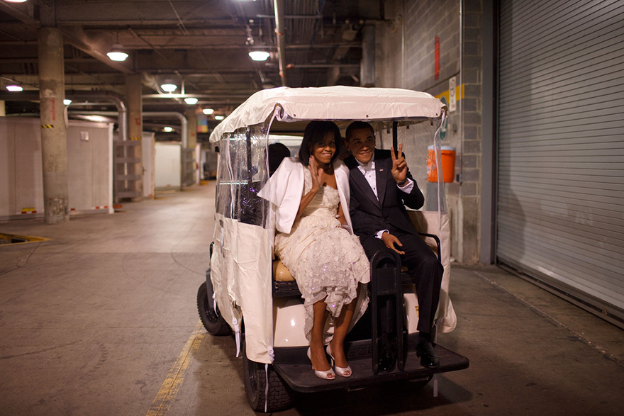 President Obama And First Lady Michelle Obama Ride In A Golf Cart At An Inaugural Ball In Washington, D.C, Jan. 20, 2009