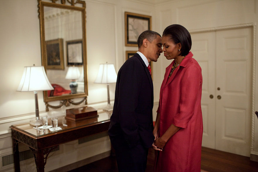 President Obama And First Lady Michelle Obama Wait In The Map Room Of The White House, Before Welcoming President Felipe Calderón Of Mexico And His Wife, Mrs. Margarita Zavala, To The White House, May 19, 2010