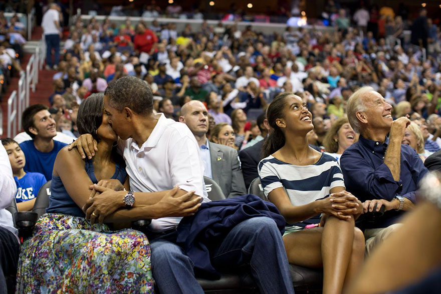 "Barack Obama Kisses Michelle Obama For The ""Kiss Cam"" While Attending The U.S. Men's Olympic Basketball Team's Game Against Brazil At The Verizon Center In Washington, On July 16, 2012"