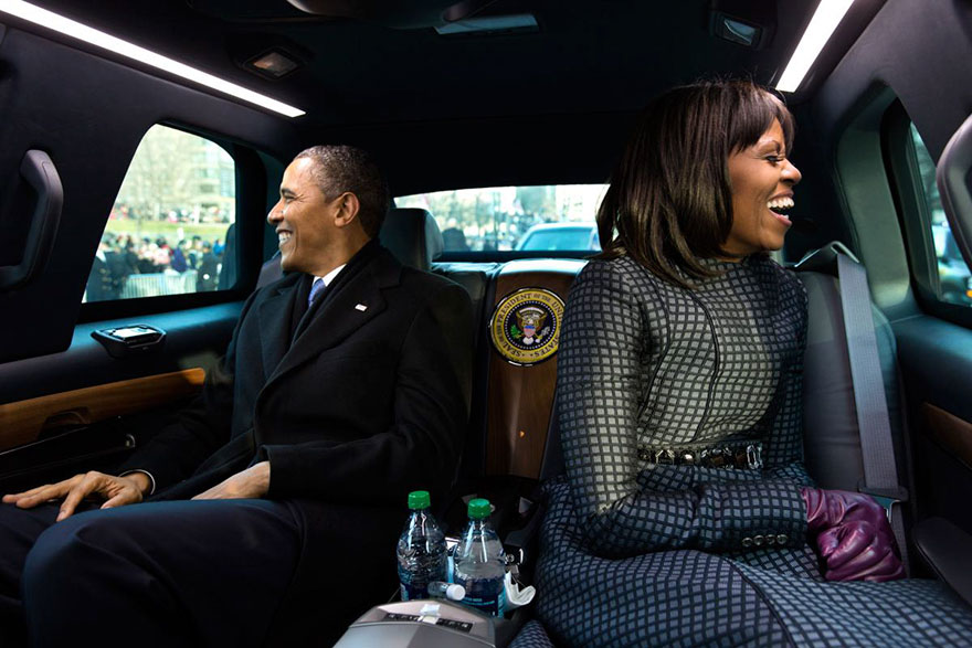 Barack Obama And Michelle Obama Ride In The Inaugural Parade In Washington, D.C., Jan. 21, 2013
