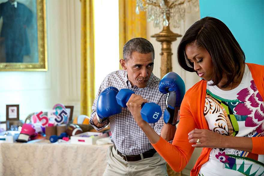 The First Couple Pose For A 'Gimme Five' Initiative Photo In The East Room Of The White House, During The Annual Easter Egg Roll, April 2015