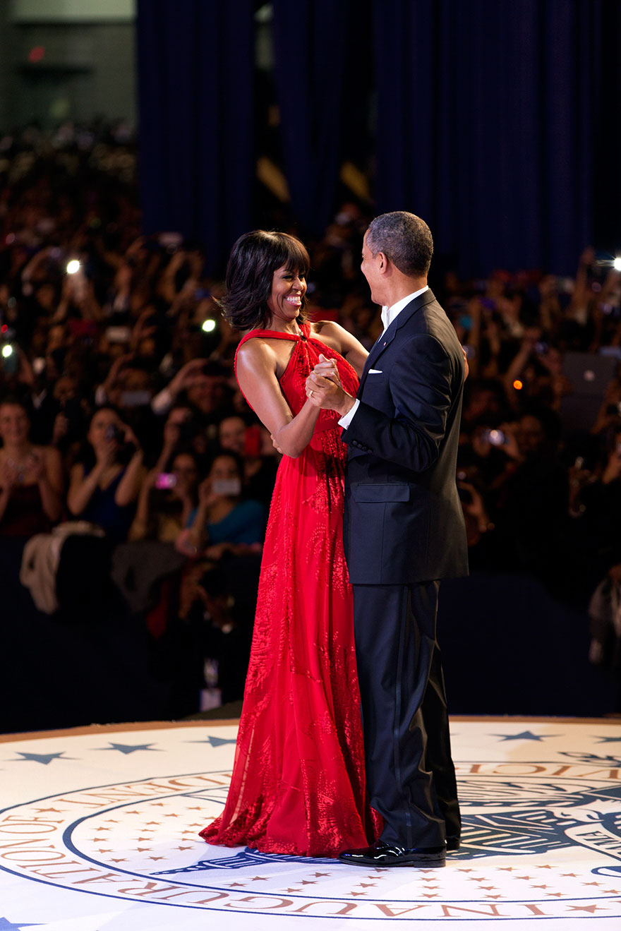 President Barack Obama And First Lady Michelle Obama Dance Together During The Inaugural Ball At The Walter E. Washington Convention Center