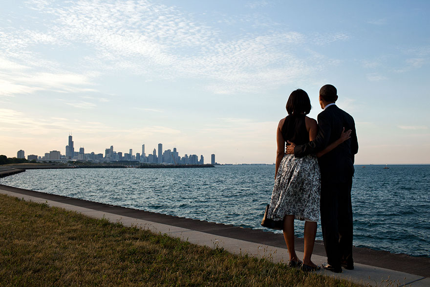 President Barack Obama And First Lady Michelle Obama Look Out At The Chicago, Ill., Skyline