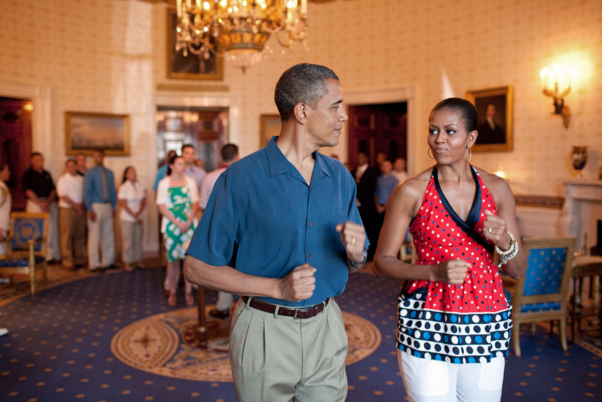 President Barack Obama And First Lady Michelle Obama Pretend To March To Music In The Blue Room Of The White House