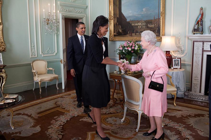 Michelle And Barack Greet Queen Elizabeth II