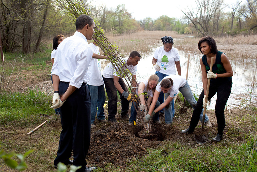 President Barack Obama And First Lady Michelle Obama Participate In Tree Plantings At The Kenilworth Aquatic Gardens In Washington