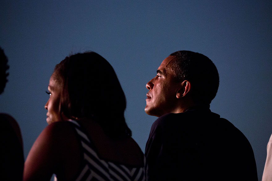 President Barack Obama And First Lady Michelle Obama Watch From The White House Roof As Fireworks Erupt Over The National Mall