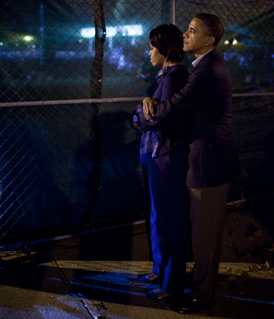 President Barack Obama Embraces First Lady Michelle Obama As They Wait To Speak At A Rally On The Campus Of Ohio State University In Columbus, Ohio On Oct. 17, 2010