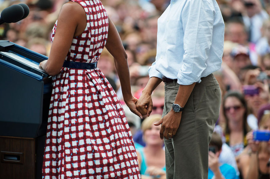 Michelle Obama And President Barack Obama Speak During A Rally At Alliant Energy Amphitheater In Dubuque, Iowa On Aug. 15, 2012