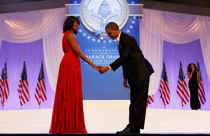 President Barack Obama Bows To First Lady Michelle Obama At The Inaugural Ball In Washington On Jan. 21, 2013