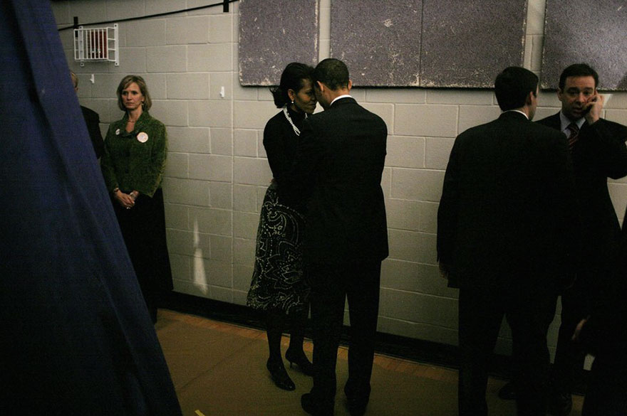 Then-Sen. Barack Obama And His Wife Michelle Obama Backstage Before Going Out To Face Their Supporters At A Primary Night Rally In The Gymnasium At The Nashua South High School On Jan. 8, 2008 In Nashua, New Hampshire