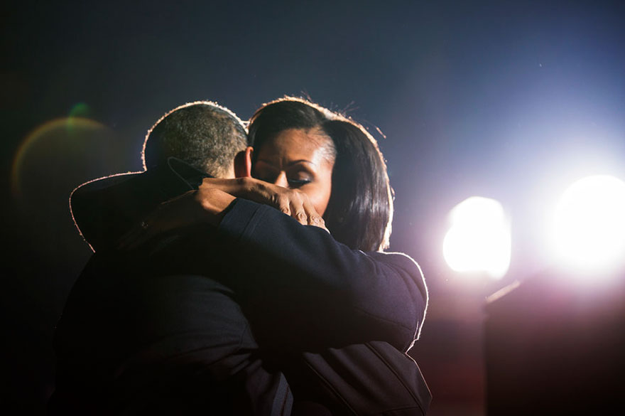 President Barack Obama Hugs First Lady Michelle Obama At A Campaign Rally In Des Moines, Iowa