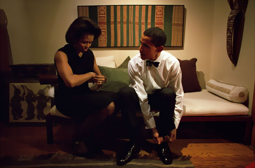 Barack Obama And Michelle Obama Get Ready To Give The Keynote Address At The Chicago Economic Club At Their Home In Chicago On Dec. 8, 2004
