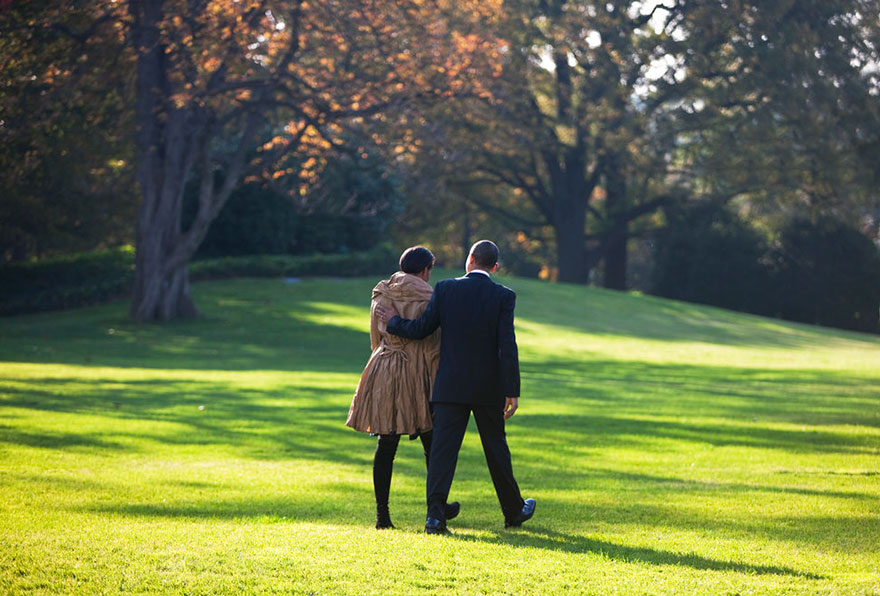 President Barack Obama And First Lady Michelle Obama Walk Towards Marine One Across The South Lawn Of The White House