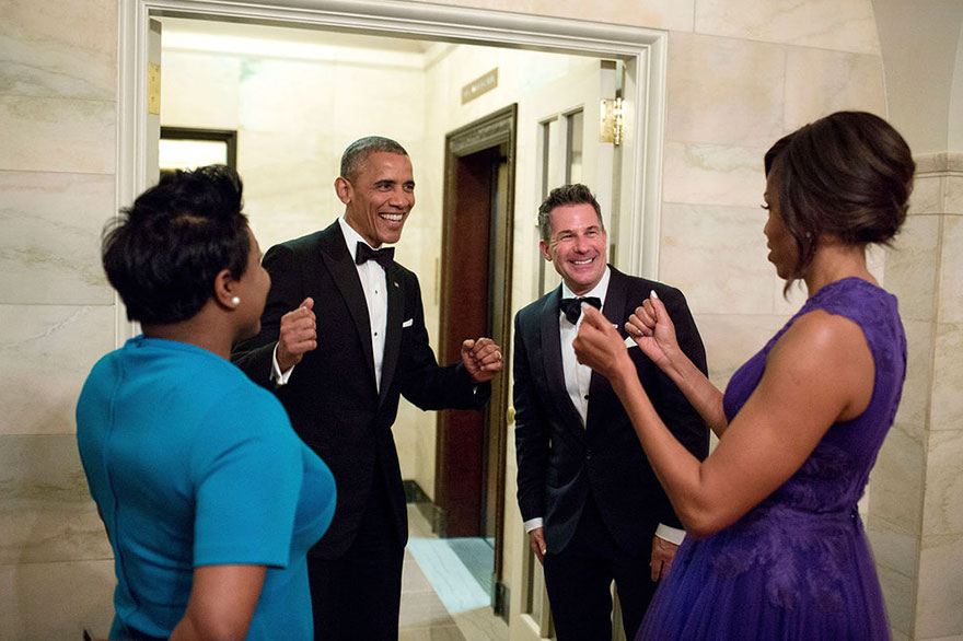President Barack Obama And First Lady Michelle Obama Celebrate With Outgoing Social Secretary Jeremy Bernard And Incoming Social Secretary Deesha Dyer In The Ground Floor Corridor Following The State Dinner At The White House On April 28, 2015