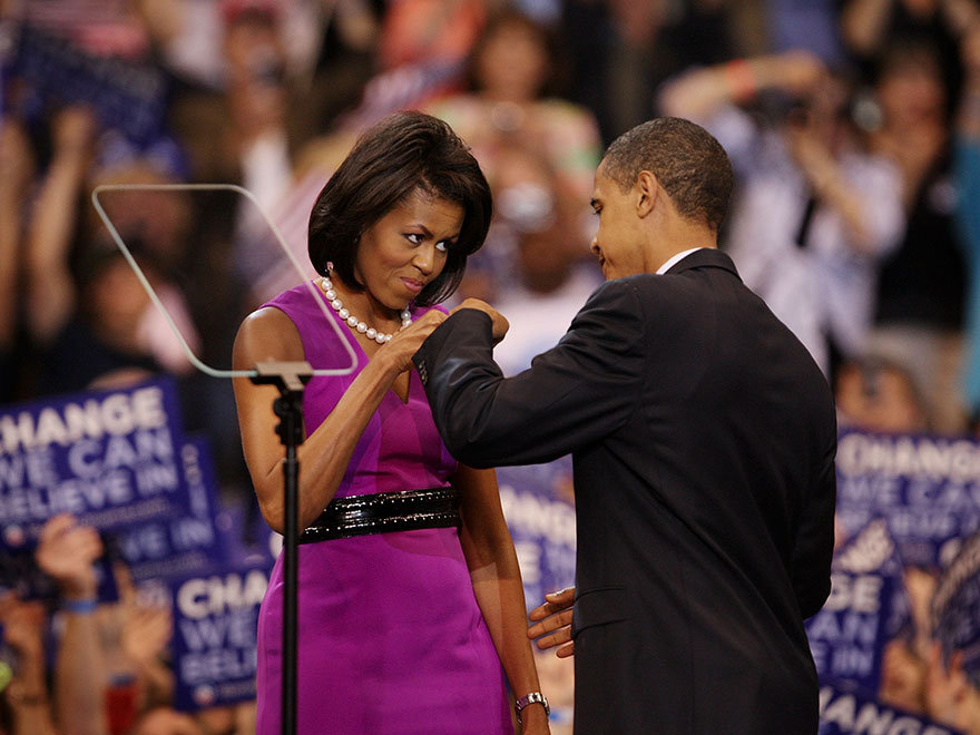 Barack Obama And His Wife Michelle Obama Bump Fists At An Election Night Rally At The Xcel Energy Center June 3, 2008