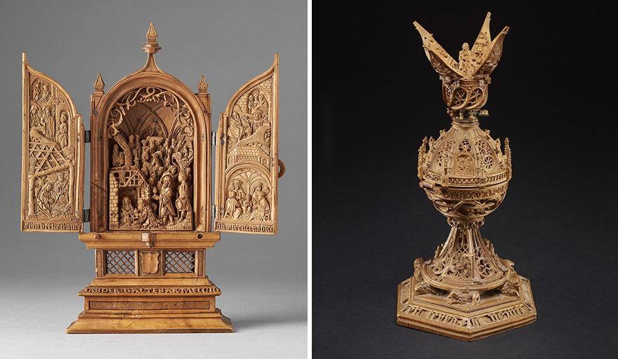 miniatura de boj tallados al 16 del siglo-17