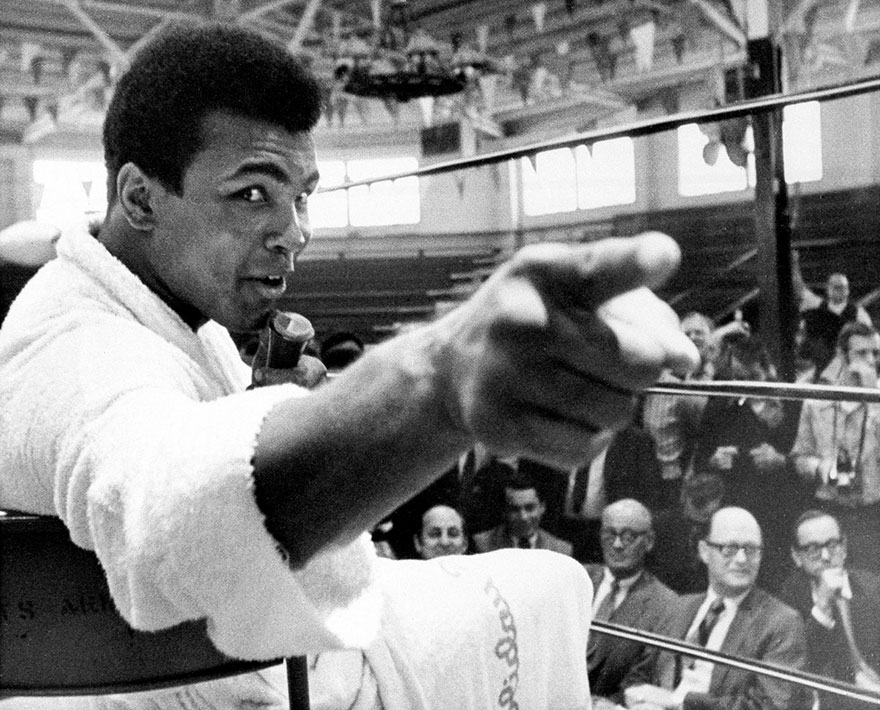 Muhammad Ali Makes A Point During A News Conference That He Conducted From Inside The Ring In Atlanta, Georgia, In This October 24, 1970
