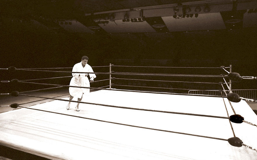 In The Hours Before His Fight With Earnie Shavers Fight, Ali Worked Alone On His Hand And Foot Speed. He's Pictured Here In An Empty Madison Square Garden