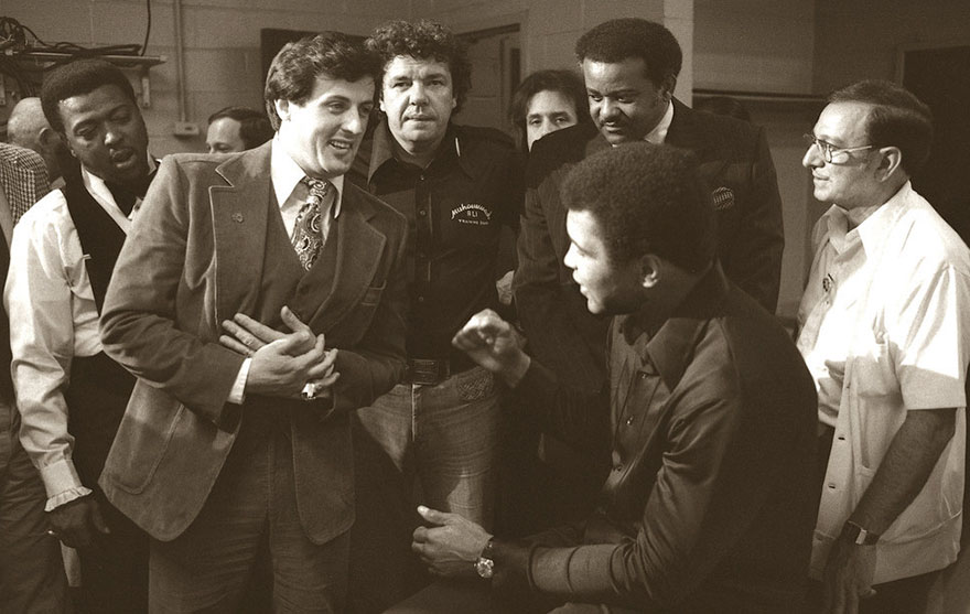 Sylvester Stallone, Who Was Inspired To Write Rocky After Seeing The Muhammad Ali/Chuck Wepner Fight In 1975, Meets Ali In The Locker Room To Wish Him Luck Before The Fight