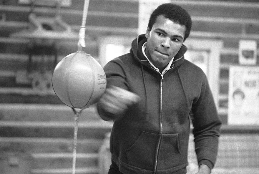 Muhammad Ali Punches Bag On January 10, 1974, In His Deer Lake, Pennsylvania, Training Camp, Where He Was Preparing For His January 28 Rematch With Joe Frazier