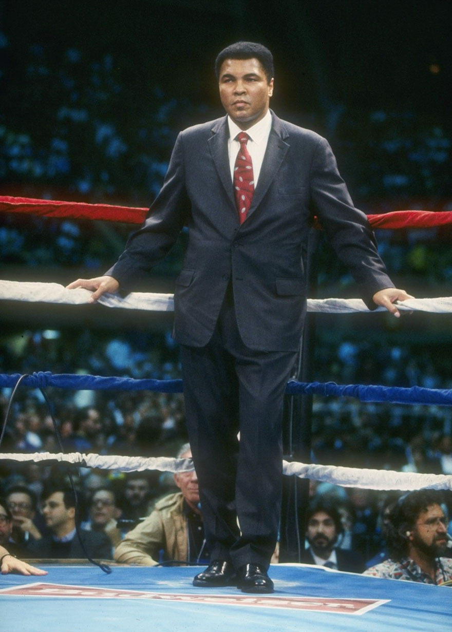 Muhammad Ali Looks On During A Bout Between Evander Holyfield And George Foreman At Caesar's Palace In Las Vegas, Nevada, April 9, 1991