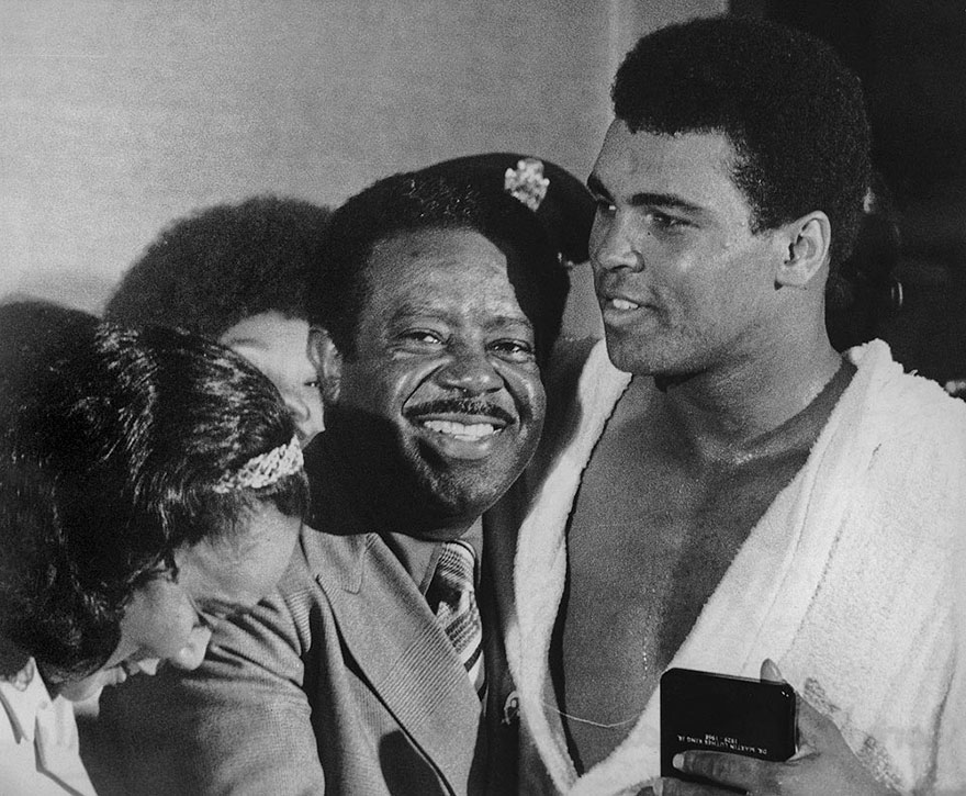 Muhammad Ali Appears With Civil Rights Activists Ralph Abernathy And Coretta Scott King