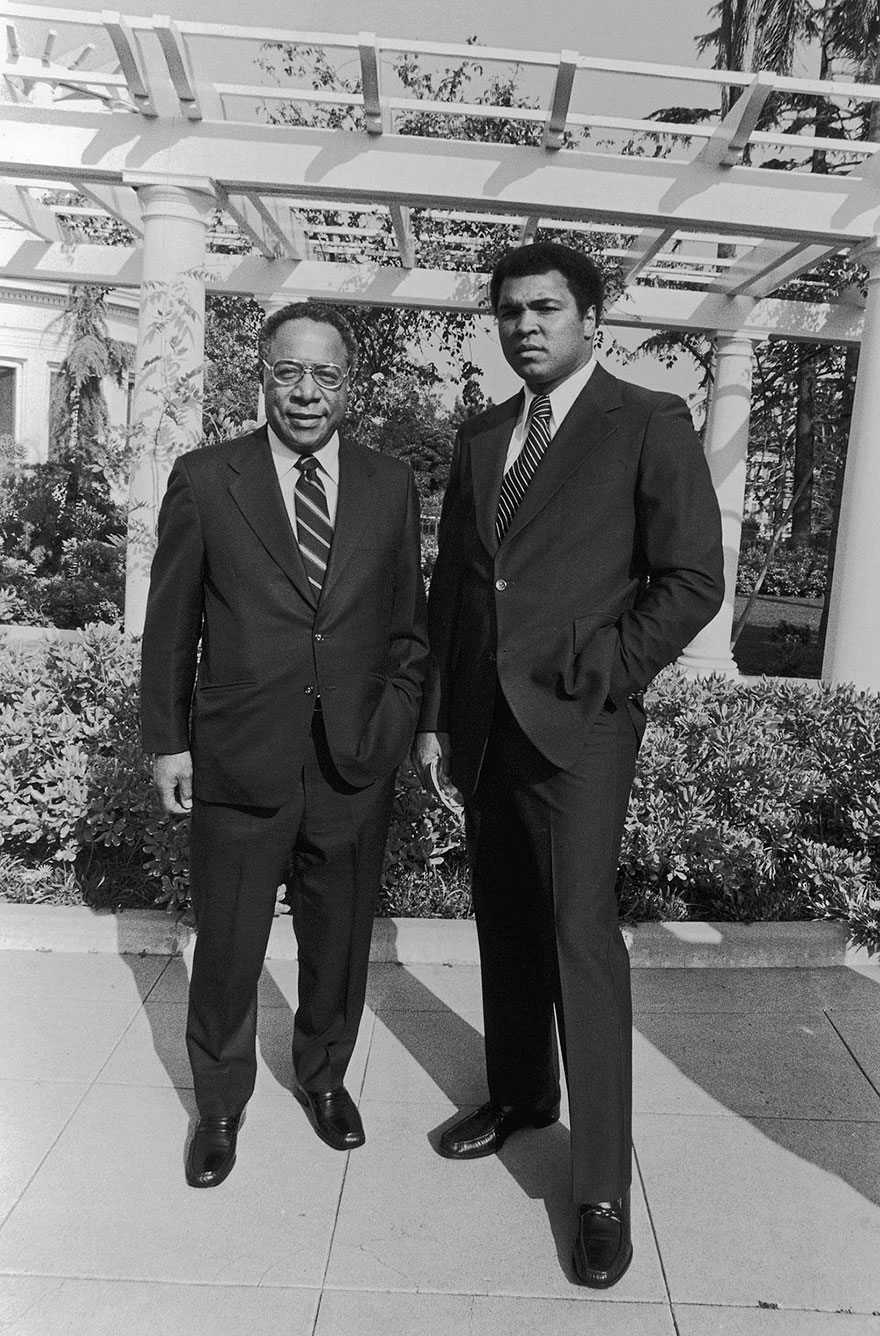 Muhammad Ali And Prolific Writer Alex Haley Appear At Ali's Semi-Open House In June Of 1979 At His Freemont Park, Ca Estate. Guests Attended The Fundraising Soiree Before Heading To An Naacp Legal Defense Fund Buffet Dinner And Play