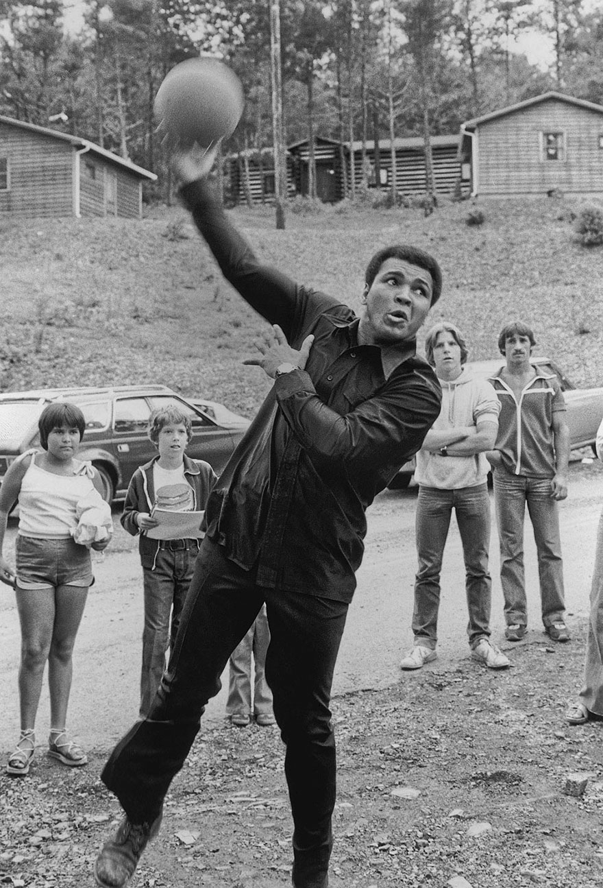 Muhammad Ali Tries A Hook Shot During A Game Of Basketball At His Deer Lake, Pa Training Camp In July Of 1978