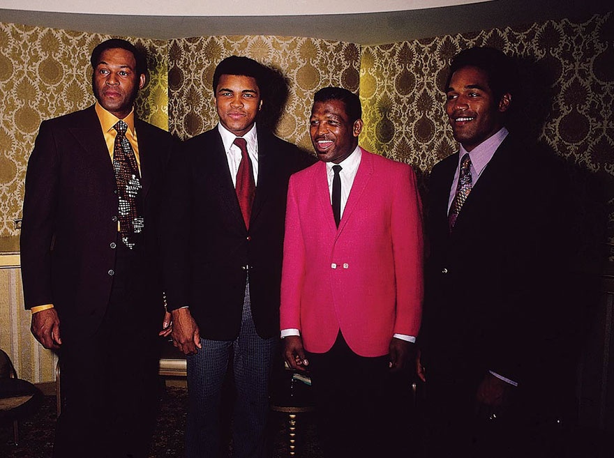 Muhammad Ali Is Photographed With Basketball Player Elgin Baylor, Boxing Legend Sugar Ray Robinson, And Football Star O. J. Simpson In January Of 1971
