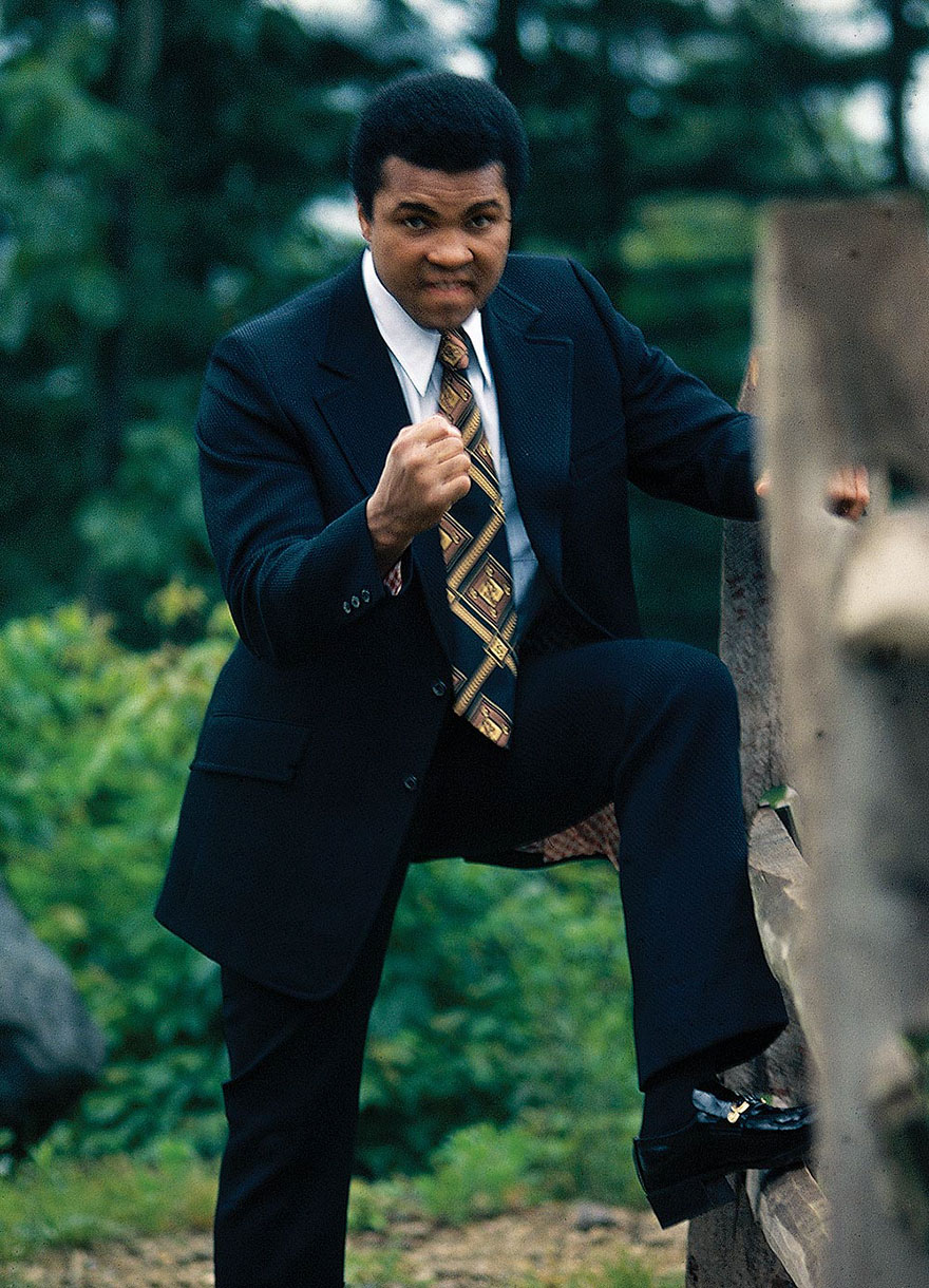 Muhammad Ali Is Photographed Demonstrating His Signature Fighting Stance At His Deer Lake, Pa Training Camp In July Of 1974