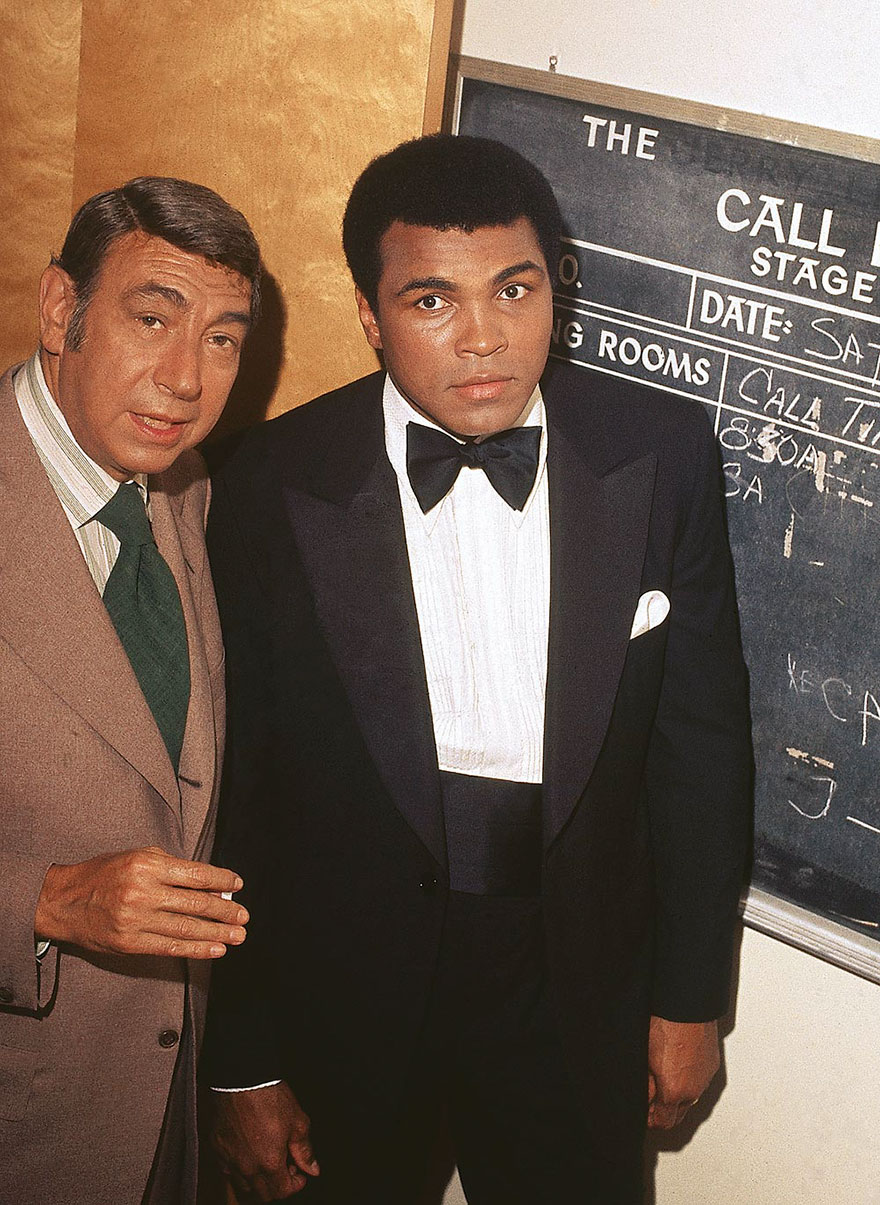 """Muhammad Ali Is Photographed With Howard Cosell Backstage Before """"The Muhammad Ali Variety Special"""" In July Of 1975"""