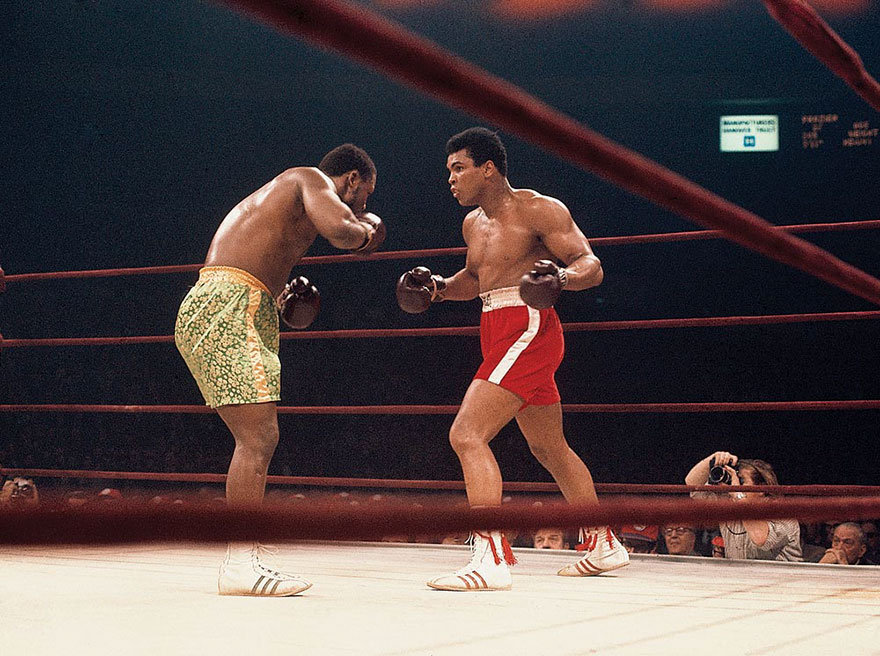 """Muhammad Ali And Joe Frazier Battle It Out In The Ring During Their Historic """"Fight Of The Year"""" On March 8, 1971. The Outcome Resulted In Ali's First Professional Defeat, A Close 15-Round Decision To Frazier"""