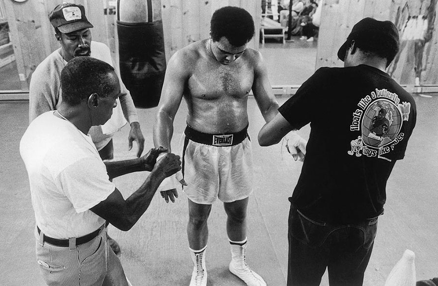 Muhammad Ali Has Tape Removed From His Hands By Wali Youngblood Muhammad, Soria Brown, And His Trainer Drew Bundini Brown In July Of 1978 After A Session On The Heavy Bag. Ali Retreated To His Deer Lake, Pa Training Camp In Preparation For His Impending Fight Against Leon Spinks On September 15, 1978