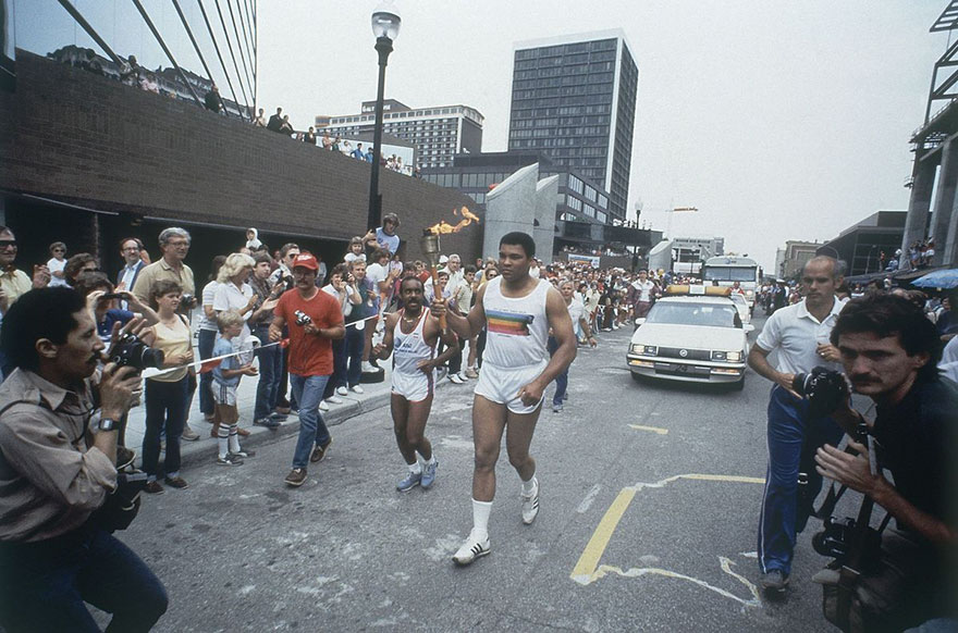 Former World Heavyweight Boxing Champion And Olympic Gold Medal Winner Muhammad Ali Carried The Olympic Torch For A Kilometer In Louisville On Sunday, May 27, 1984