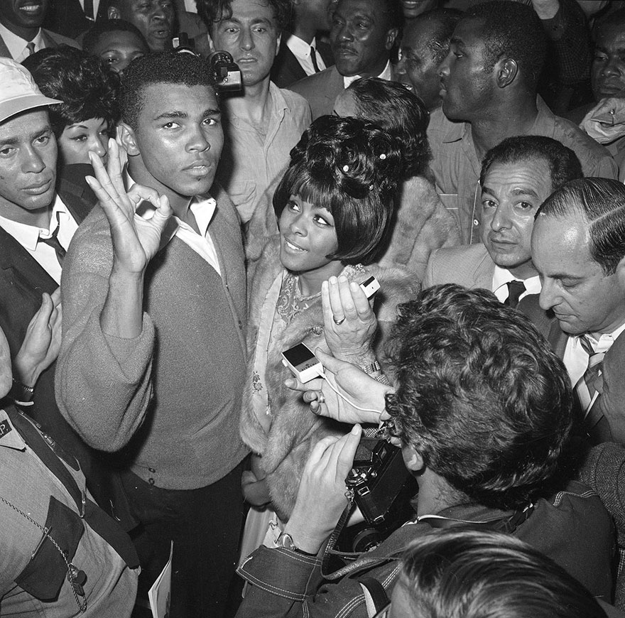 Heavyweight Boxing Champ Cassius Clay And His Wife Sonji Are Seen At A Press Conference After His Successful Title Defense In Lewiston, Me., May 25, 1965