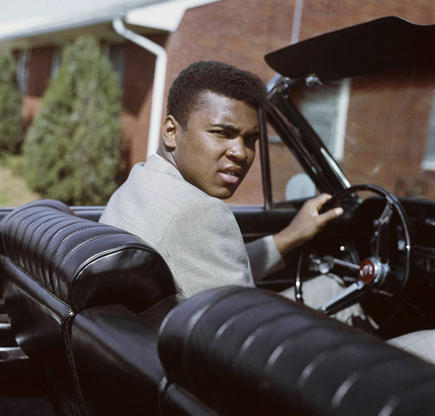 Muhammad Ali behind the wheel on April 2, 1963.