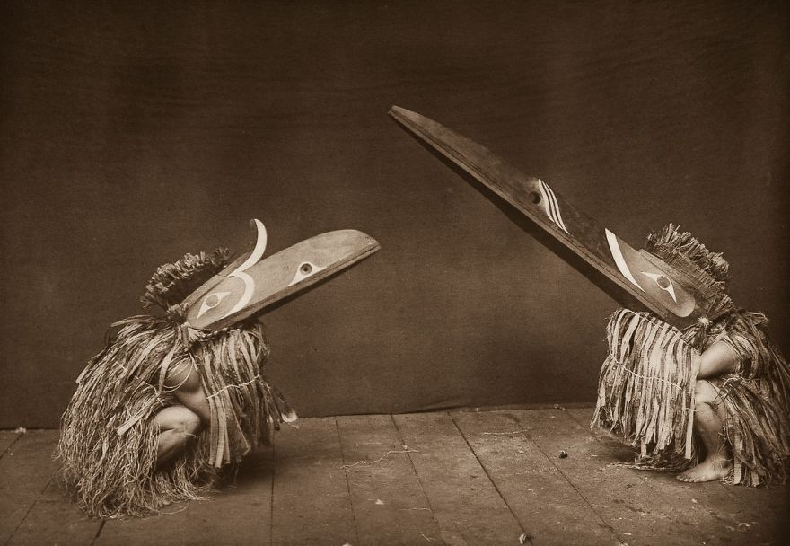 Nakoaktok Dancers Wear Hamatsa Masks In A Ritual, 1914