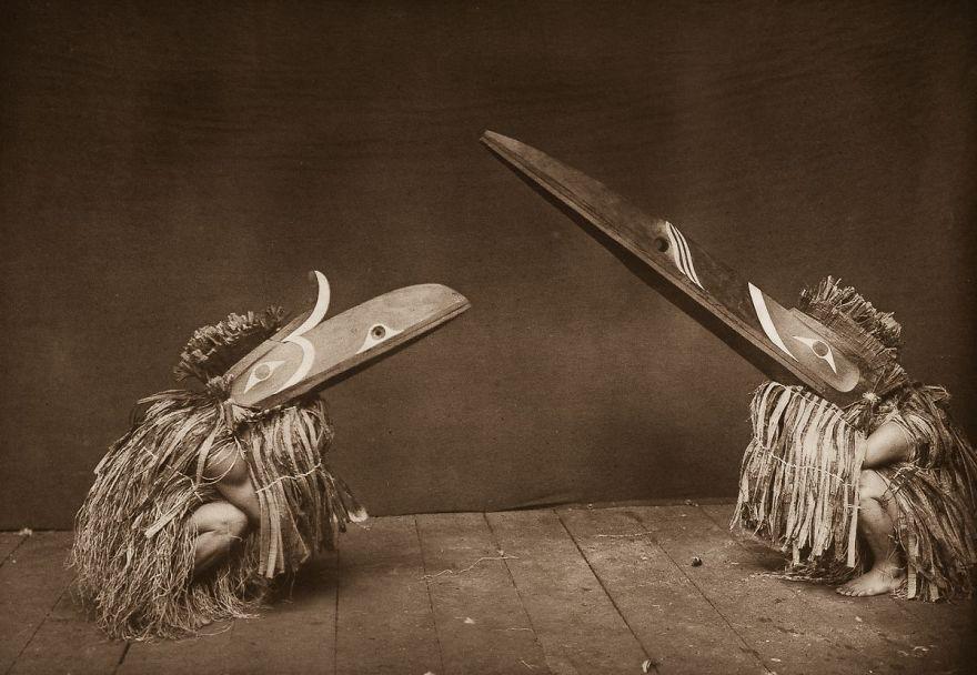 Nakoaktok Dancers Wear Hamatsa Masks In A Ritual, 1914