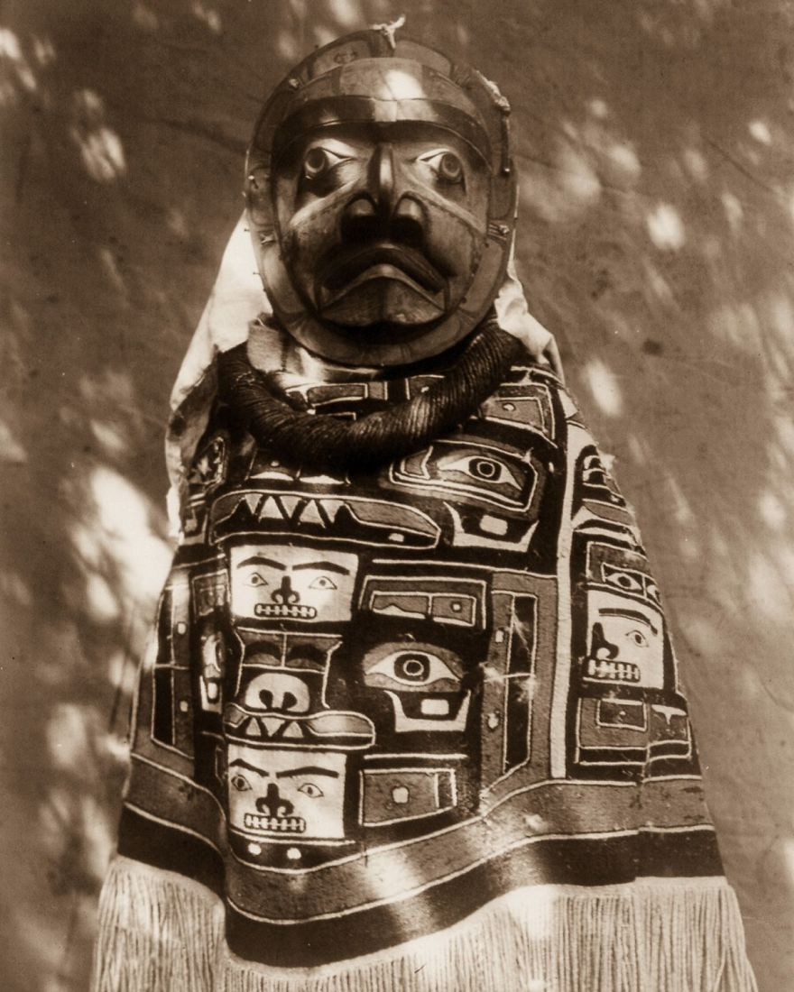 A Qagyuhl Woman Wears A Fringed Chilkat Blanket And A Mask Representing A Deceased Relative Who Had Been A Shaman, 1914