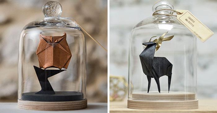 Esta artista ha encontrado una bonita forma de conservar sus obras de origami con campanas de cristal