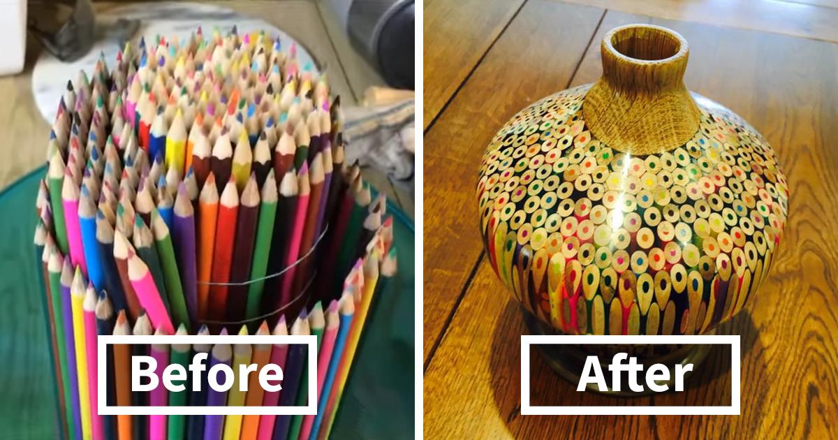 Artist Makes A Vase Entirely Of Pencils Bored Panda