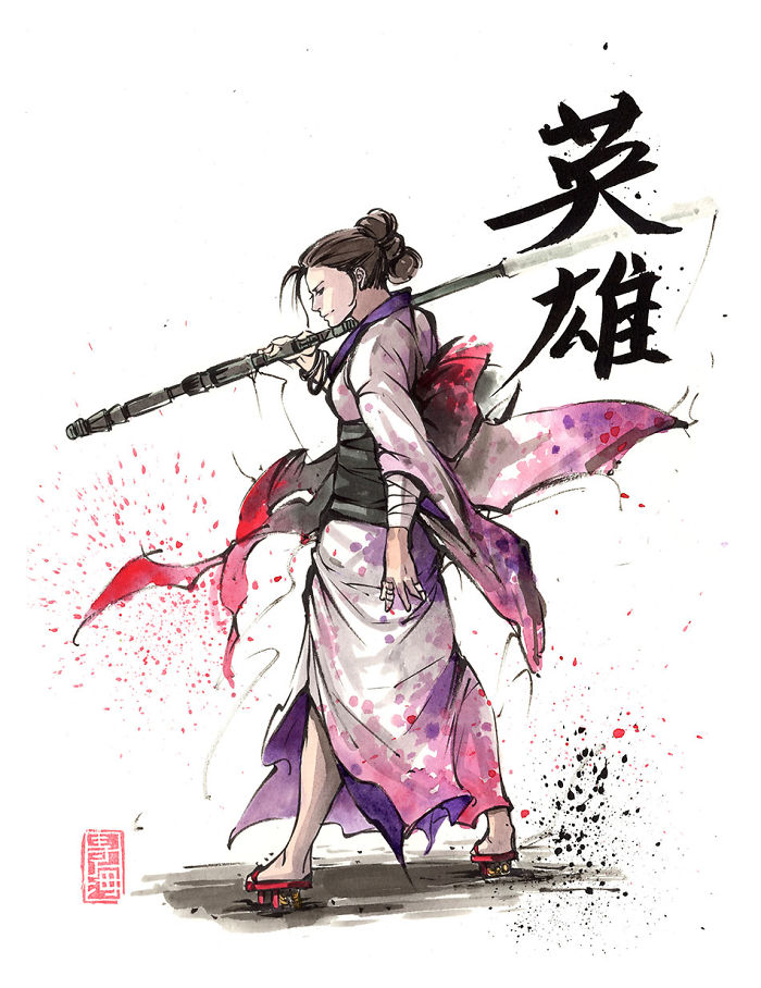 Rey In Kimono With Her Staff
