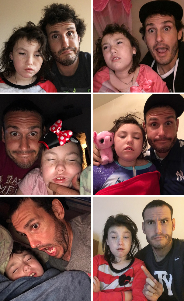 This funny single dad takes a daily selfie right after waking up his daughter. Her reactions are priceless