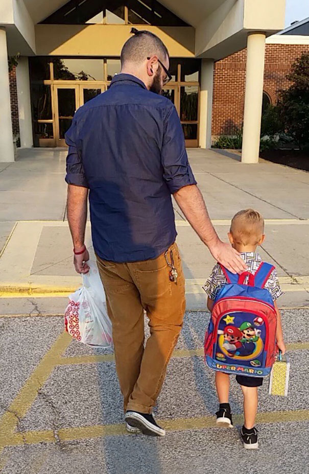 My Son & I On His Very First Day Of School. I Plan On Having K-12 Pictures Of The Same Pose And Will Gift To Him On His Graduation Day