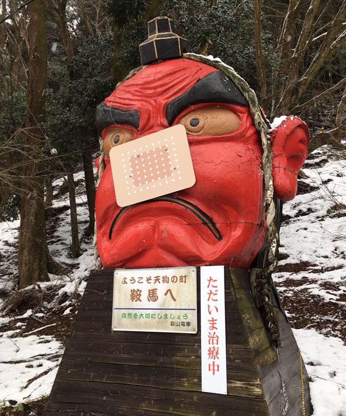 snow-broken-nose-fix-tengu-kyoto-japan-1