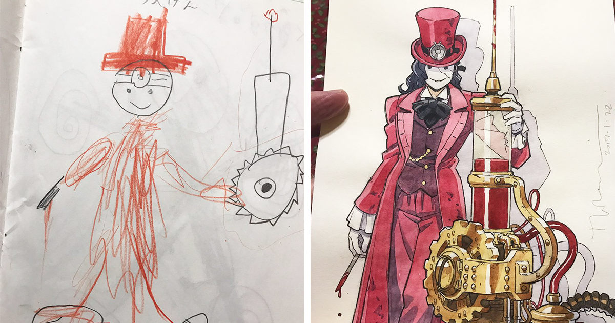 Dad Turns His Sons' Doodles Into Amazing Anime Characters