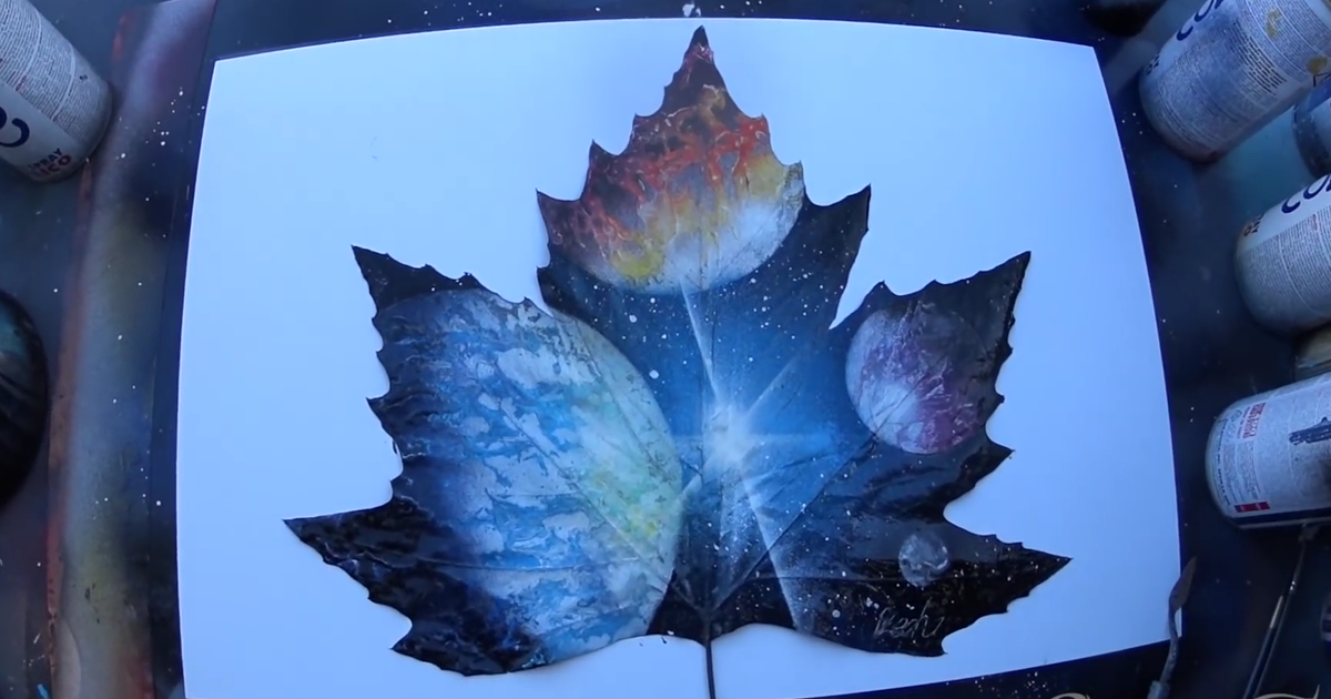 Spray Painting Planets On A Leaf Bored Panda