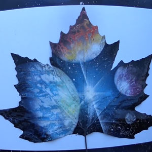 Spray Painting Planets On A Leaf