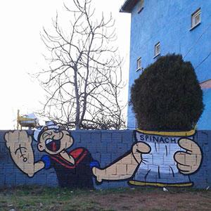 Clever Popeye Street Art In Istanbul By Semi O.K